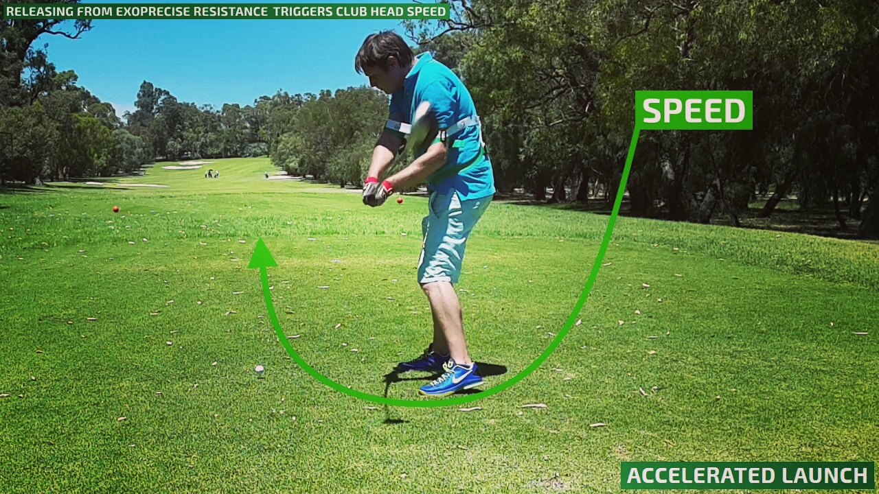 Our golf power swing trainer increases driver clubhead speed on your downswing.